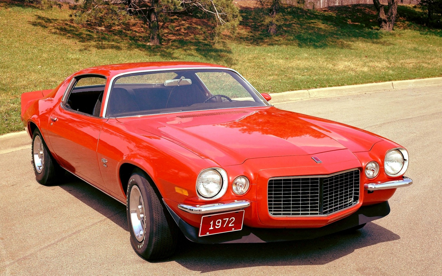 chevrolet, camaro, 1972, muscle car, red, шевроле,