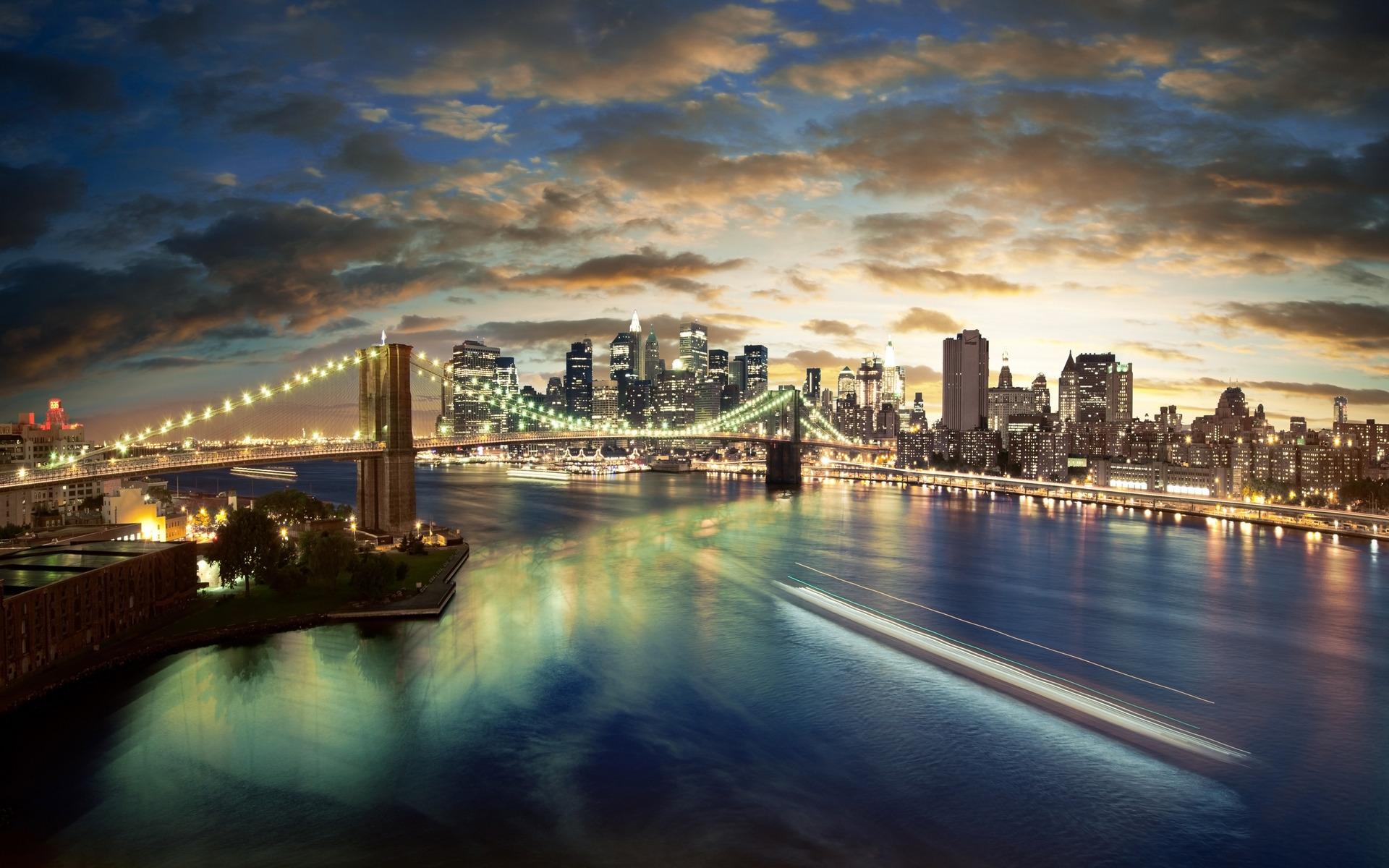city, buildings, bridge, cloud, sea, night, lights