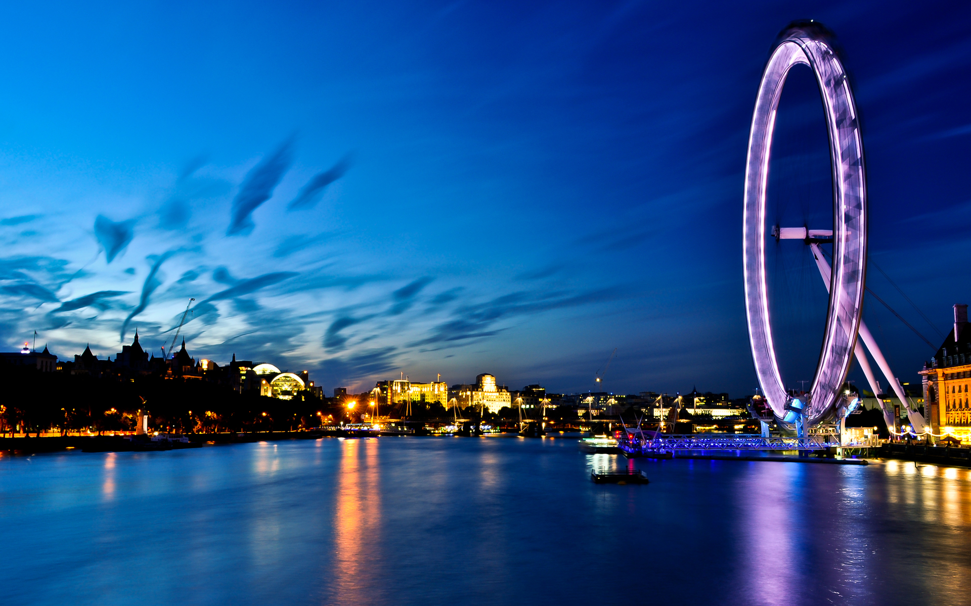 london eye, river, thames, england, london, uk