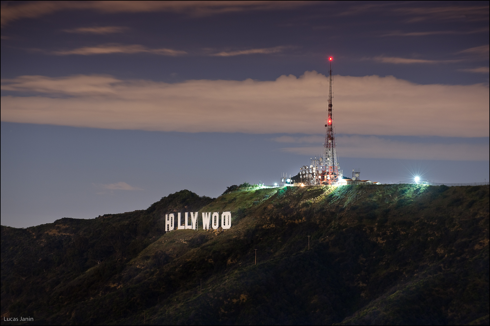 Hollywood, sign, by, night